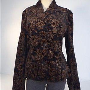 Ralph Lauren Black Velvet Blazer with Gold Filigre